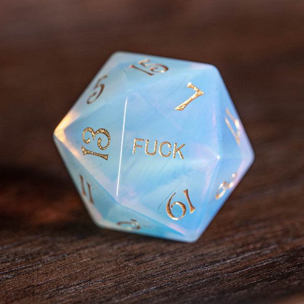 URWizards Dnd Opalite Engraved Dice Set YEET & F*CK - Urwizards