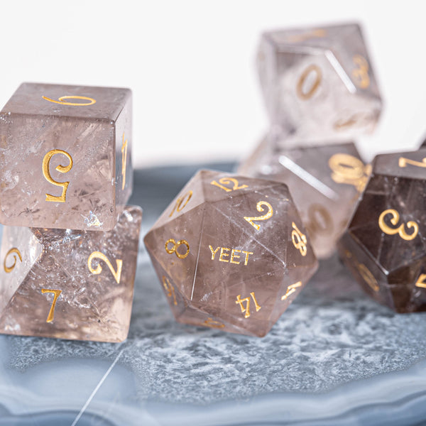 URWizards Dnd Smoky Quartz Engraved Dice Set YEET & F*CK - Urwizards