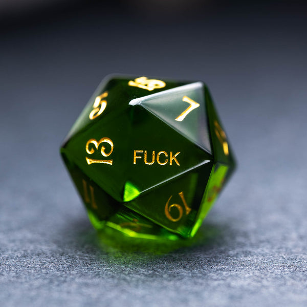 URWizards Dnd Peridot Gemstone Engraved Dice Set YEET & F*CK - Urwizards