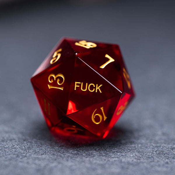URWizards Dnd Garnet Zircon Gemstone Engraved Dice Set YEET & F*CK - Urwizards