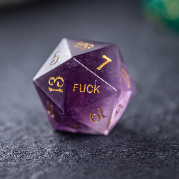 URWizards Dnd Amethyst Gemstone Engraved Dice Set YEET&F*CK - Urwizards