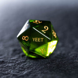 URWizards Dnd Peridot Zircon Gemstone Engraved Dice Set YEET & F*CK - Urwizards