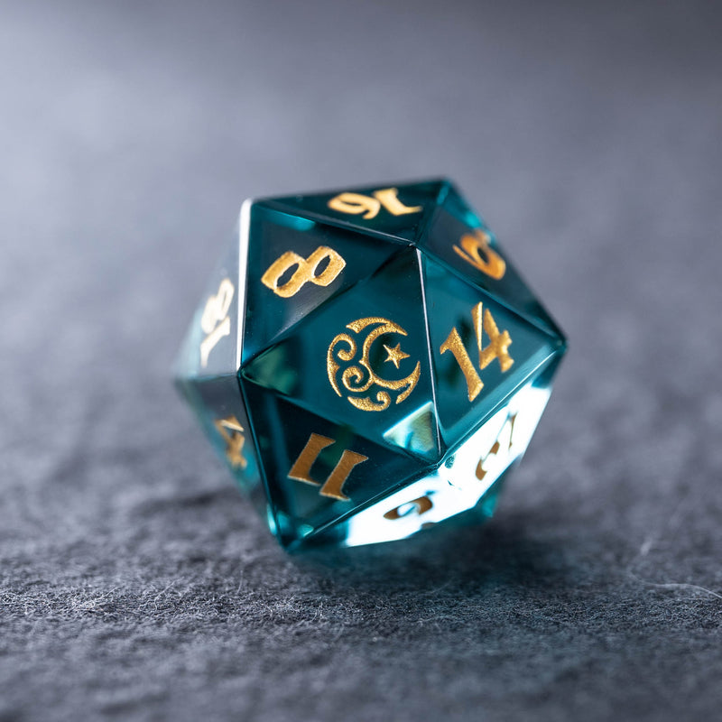 URWizards Dnd Blue Tourmaline Engraved Dice Set Moon Star Style - Urwizards
