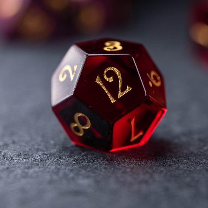 URWizards Dnd Garnet Glass Engraved Dice Set YEET & F*CK - Urwizards