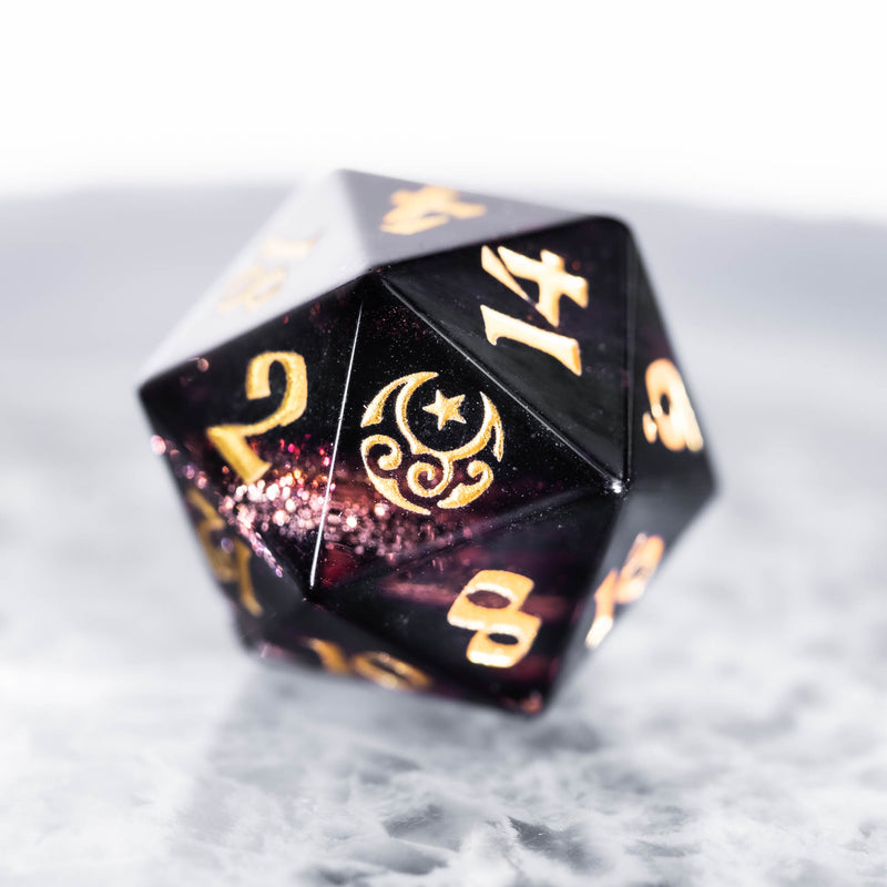 URWizards Dnd Black Glitter Glass Engraved Dice Set Moon and Star - Urwizards