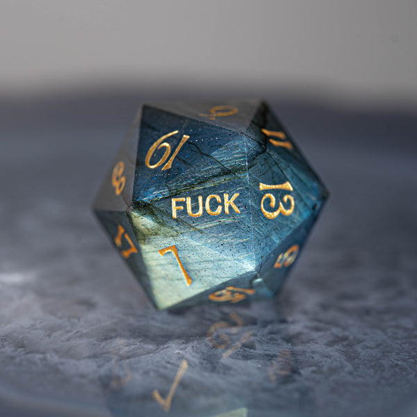 URWizards Dnd Labradorite Gemstone Engraved Dice Set YEET & F*CK - Urwizards
