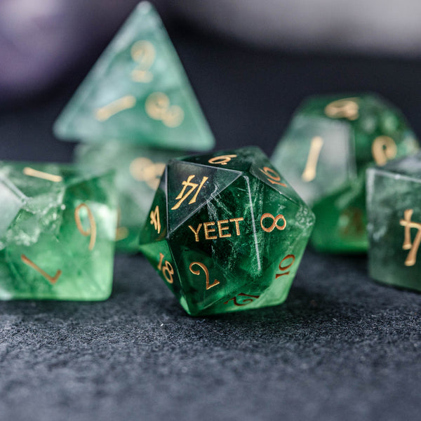 URWizards Dnd Green Fluorite Gemstone Engraved Dice Set YEET & F*CK - Urwizards