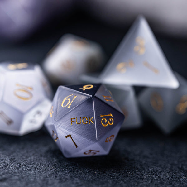 URWizards Dnd Grey Cat's Eye Stone Engraved Dice Set YEET & F*CK - Urwizards