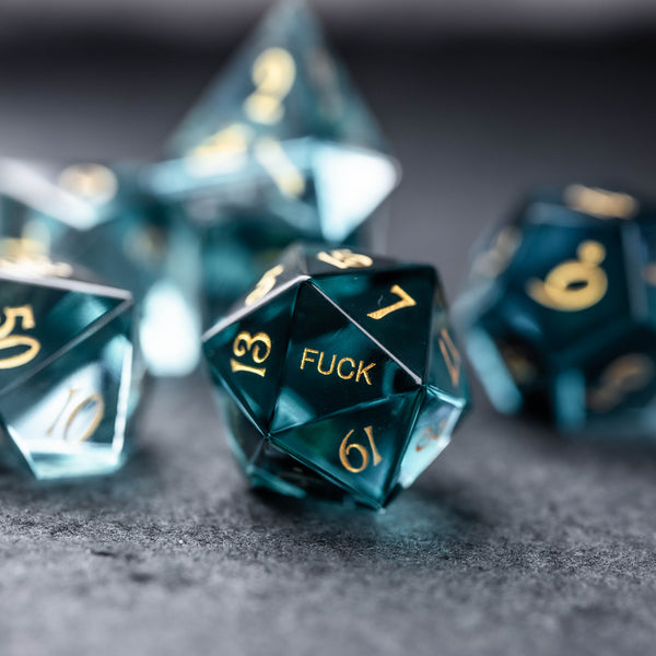 URWizards Dnd Blue Gemstone Engraved Dice Set YEET & F*CK - Urwizards