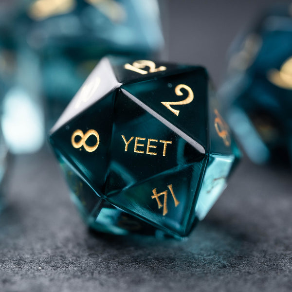 URWizards Dnd Blue Zircon Gemstone Engraved Dice Set YEET & F*CK - Urwizards