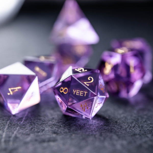 URWizards Dnd Purple Gemstone Engraved Dice Set YEET & F*CK - Urwizards