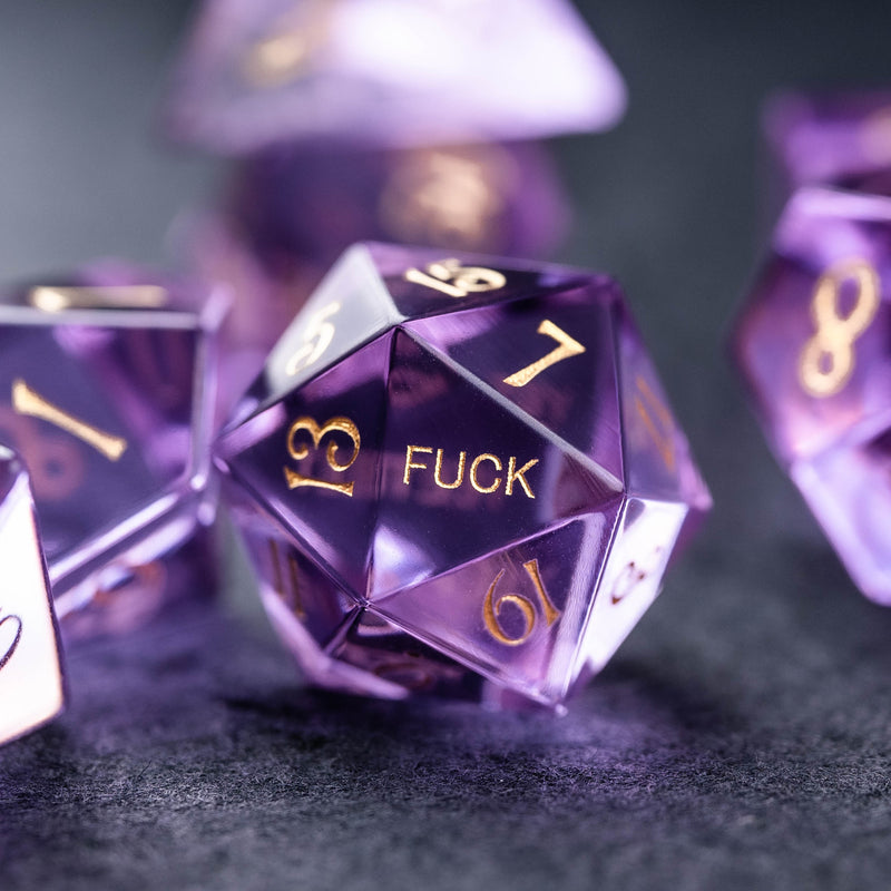 URWizards Dnd Purple Zircon Gemstone Engraved Dice Set YEET & F*CK - Urwizards