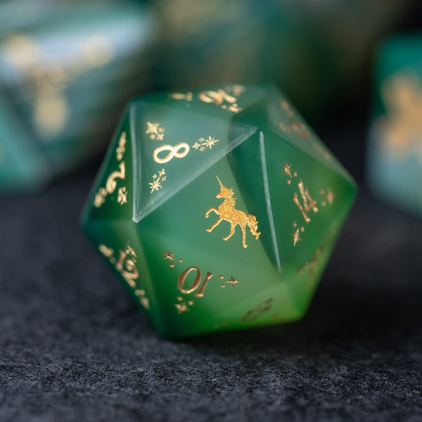 URWizards Dnd Green Agate Engraved Dice Set Unicorn Style - Urwizards