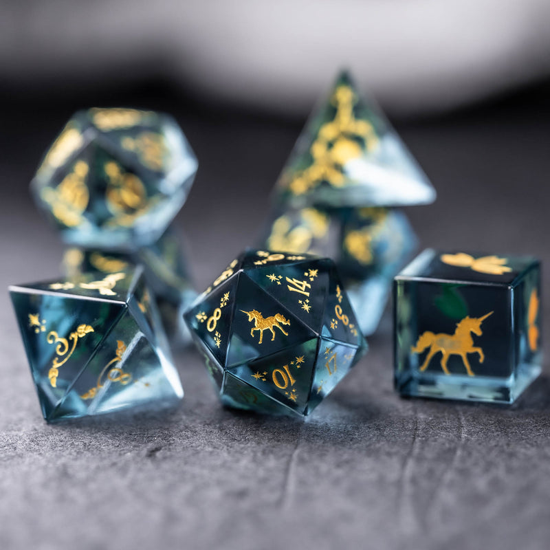 URWizards Dnd Blue Tourmaline Engraved Dice Set Unicorn Style Gold Inked - Urwizards