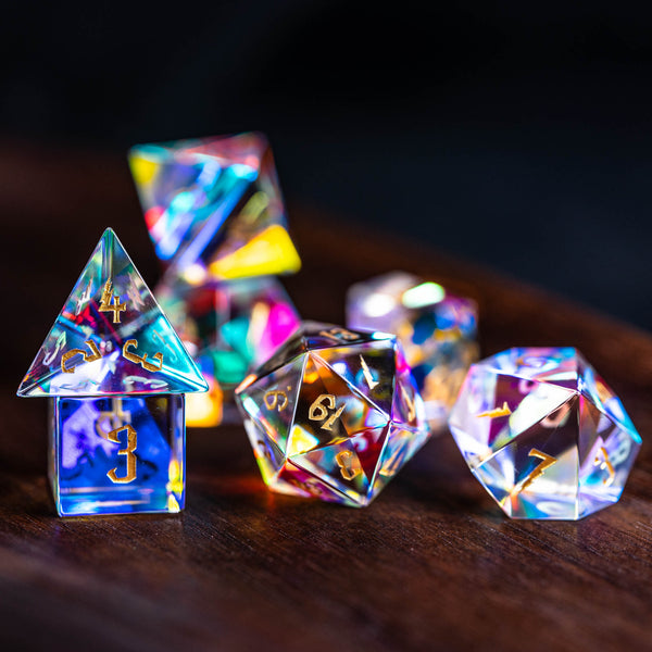 URWizards Dnd Dichroic Prism  Glass Gemstone Engraved Dice Set Wizard Lightning - Urwizards