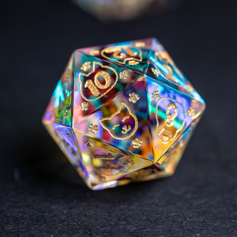 URWizards Dnd Engraved Dichroic Prism Glass Dice Set Meow Style Gold Inked - Urwizards