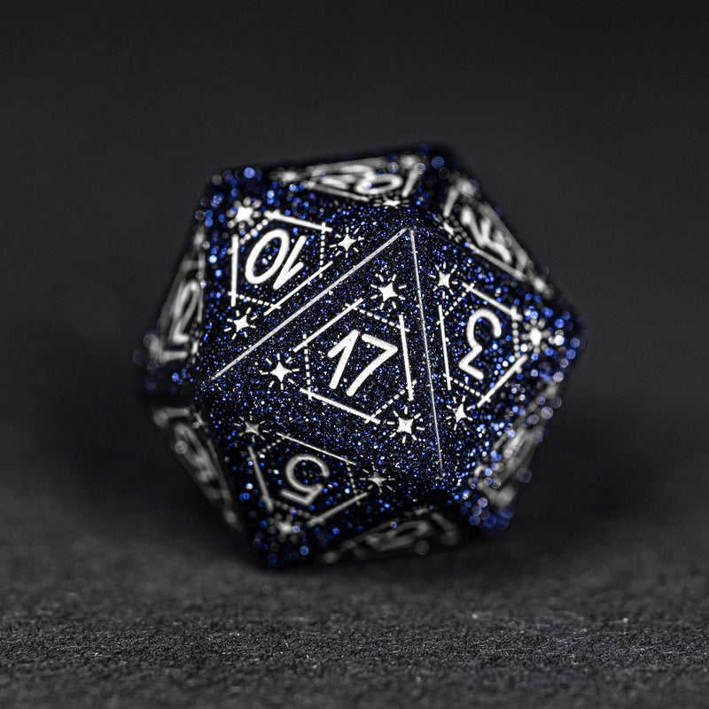 URWizards Dnd Engraved Blue Sandstone D20 Dice Astrology Style - Urwizards
