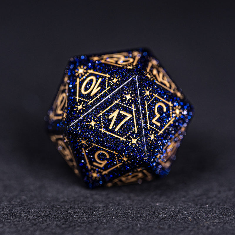 URWizards Dnd Blue Sandstone Engraved Dice Set Astrology Style Gold Inked - Urwizards