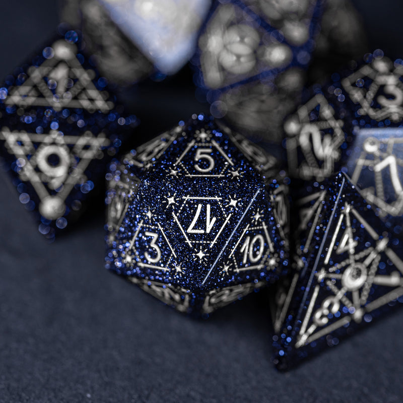 URWizards Dnd Blue Sandstone Engraved Dice Set Astrology Style Silver Inked - Urwizards