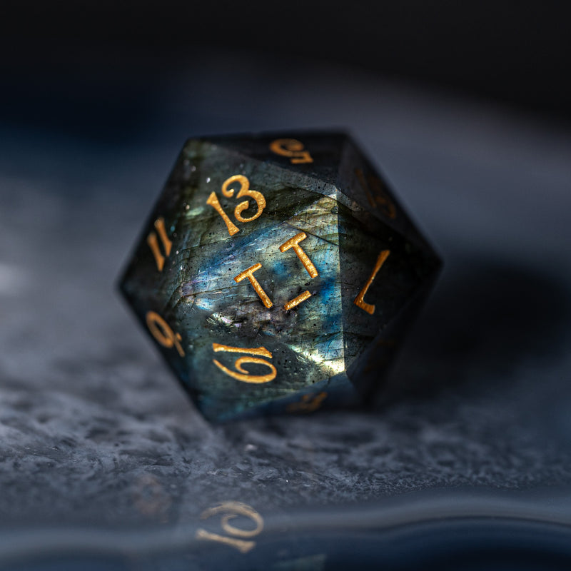 URWizards Dnd Labradorite Gemstone Engraved Dice Set UwU & T_T - Urwizards