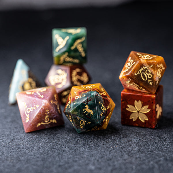URWizards Dnd Indian Agate Engraved Dice Set Unicorn Style - Urwizards