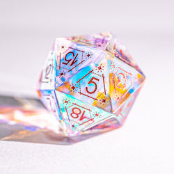 URWizards Dnd Dichroic Glass Engraved Dice Set Astrology Rose Red Inked - Urwizards