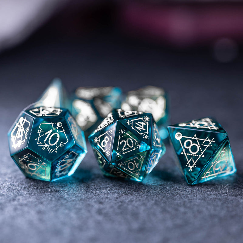 URWizards Dnd Blue Glass Engraved Dice Set Astrology Style Silver Inked - Urwizards