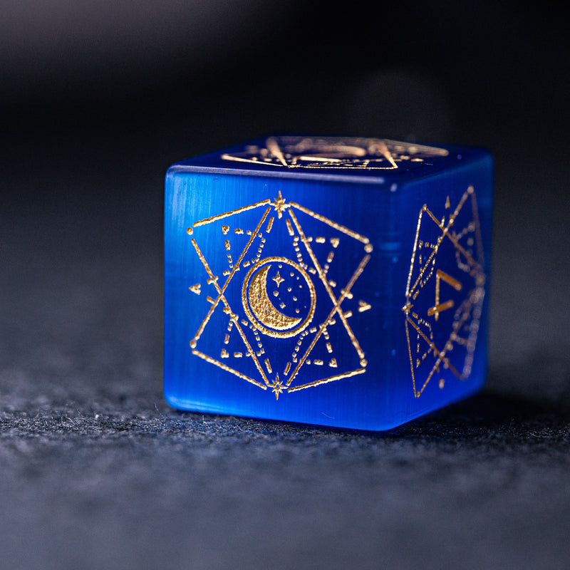 URWizards Dnd Blue Cat's Eye Stone Engraved Dice Set Astrology Style - Urwizards