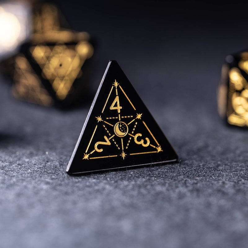 URWizards Dnd Obsidian Engraved Dice Set Astrology Style - Urwizards
