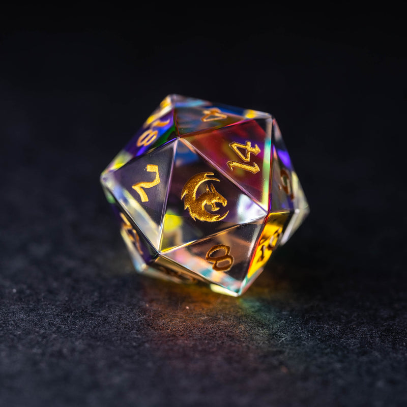 URWizards Dnd Dichroic Prism Glass Engraved Dice Set Dragon Style - Urwizards