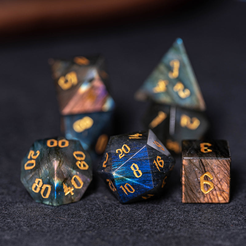URWizards Dnd Labradorite Engraved Dice Set Wizard lightning Style - Urwizards