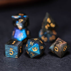 URWizards Dnd Labradorite Gemstone Engraved Dice Set Dragon Style - Urwizards