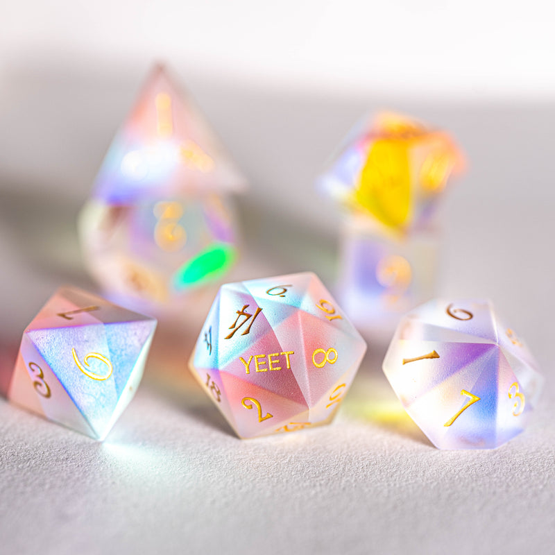 URWizards Dnd Frosted Dichroic Prism Glass Dice Set YEET & F*CK - Urwizards