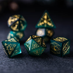 URWizards Dnd Green Cat's Eye Stone Engraved Dice Set Astrology Style - Urwizards