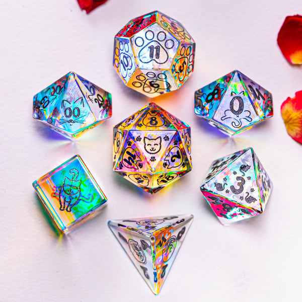 URWizards Dnd Engraved Dichroic Prism Glass Dice Set Meow Style - Urwizards