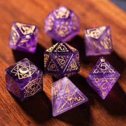 URWizards Dnd Amethyst Engraved Dice Set Astrology Style - Urwizards