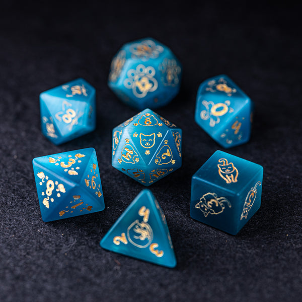 URWizards Dnd Engraved Aqua Cat's Eye Dice Set Meow Style - Urwizards