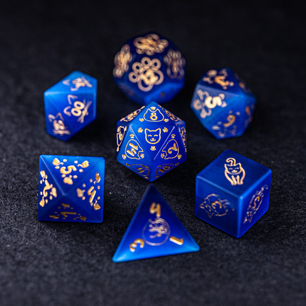 URWizards Dnd Engraved Blue Cat's Eye Dice Set Meow Style - Urwizards