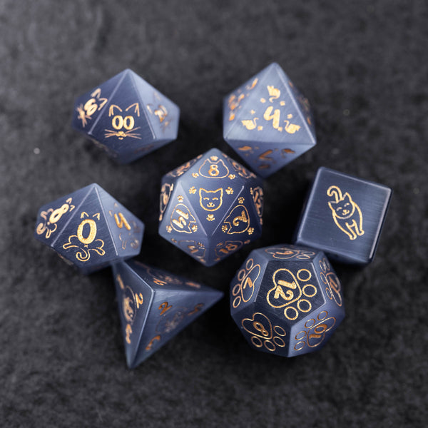 URWizards Dnd Engraved Grey Cat's Eye Dice Set Meow Style - Urwizards