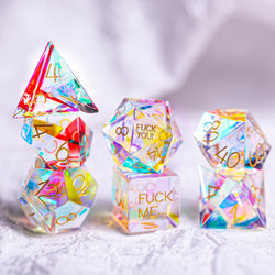 URWizards Dnd Dichroic Prism Glass Engraved Dice Set F*CK Style - Urwizards