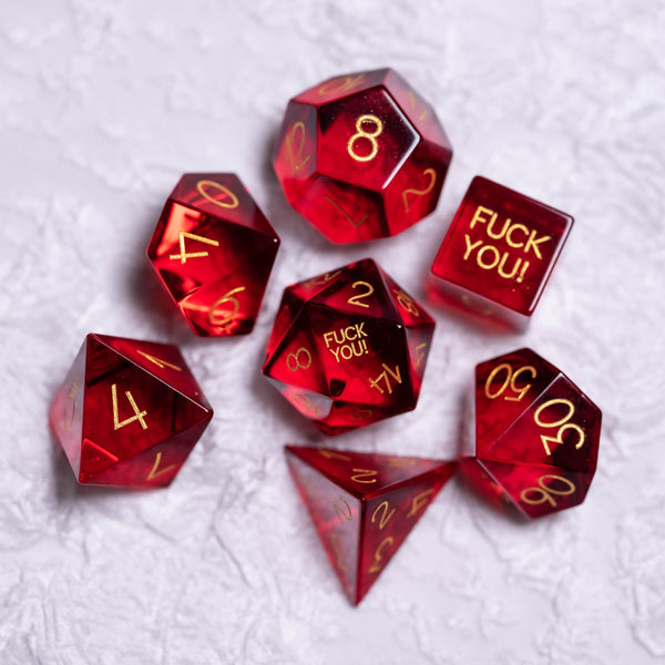 URWizards Dnd Garnet Glass Engraved Dice Set F*CK Style - Urwizards