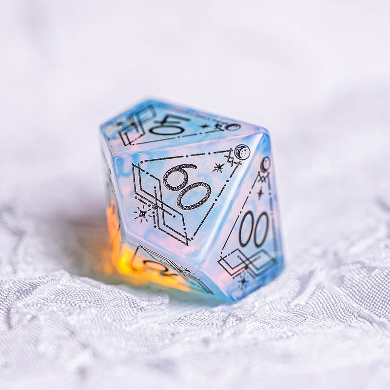 URWizards Dnd Opalite Engraved Dice Set Astrology Style Black Inked - Urwizards