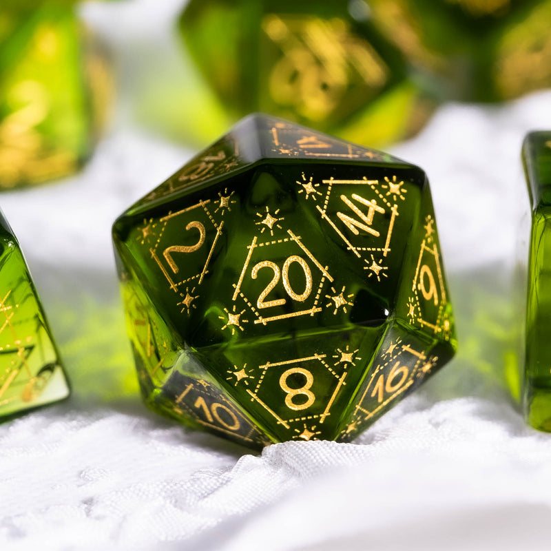 URWizards Dnd Peridot Glass Engraved Dice Set Astrology Style - Urwizards