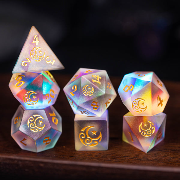 URWizards Dnd Frosted Dichroic Prism Glass Dice Set Moon Stars - Urwizards