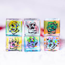 URWizards Dnd Engraved Dichroic Prism Glass D6 Dice Meow Style - Urwizards