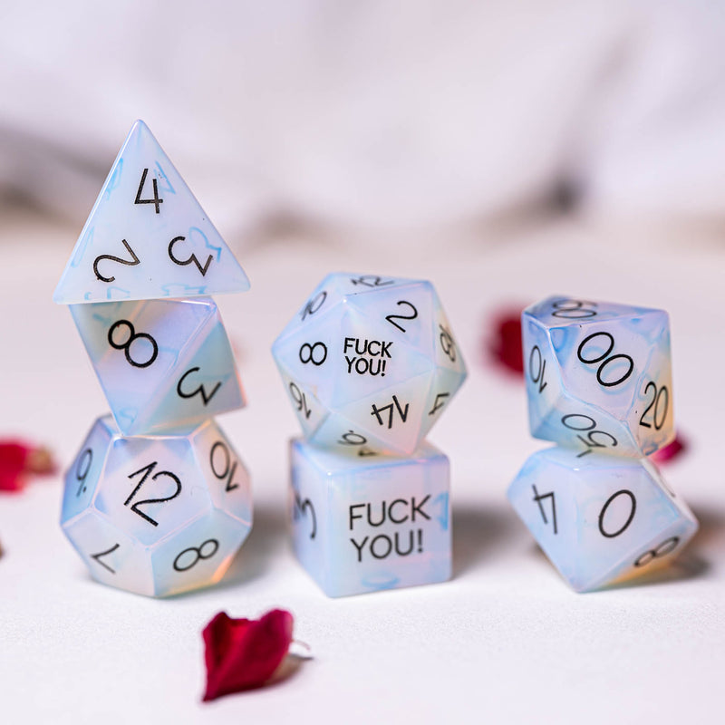 URWizards Dnd Opalite Gemstone Engraved Dice Set F*CK Style - Urwizards