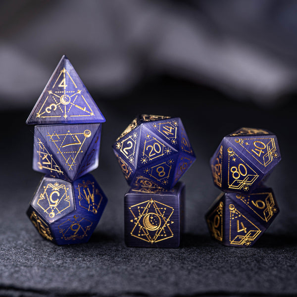 URWizards Dnd Purple Cat's Eye Stone Engraved Dice Set Astrology Style - Urwizards