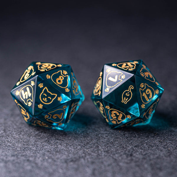 URWizards Dnd Engraved Blue Glass Dice Set Meow Style - Urwizards