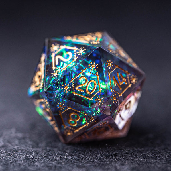 URWizards Dnd Engraved Handmade Resin Dark Glitter D20 Dice Astrology Style - Urwizards