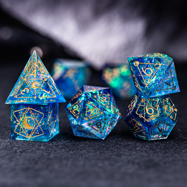 URWizards Dnd Resin Blue Glitter Engraved Dice Set Astrology Style - Urwizards